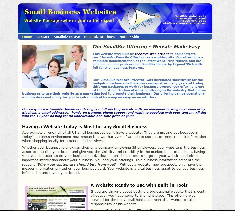 creative web actions smallbiz website offering